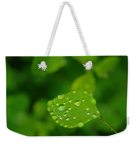 Dew Dappled Leaf Weekender Tote Bag