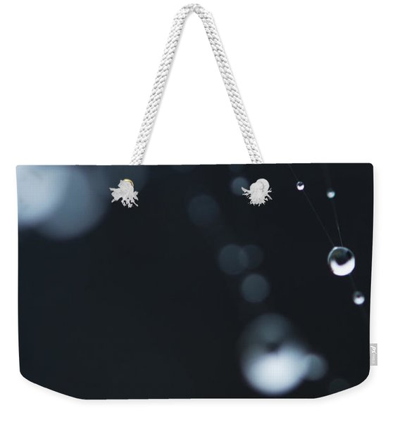 Weekender Tote Bag featuring the photograph Dewdrops On Cobweb 004 by Clayton Bastiani