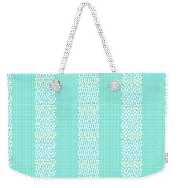Diamond Rain Teal Stripes Weekender Tote Bag