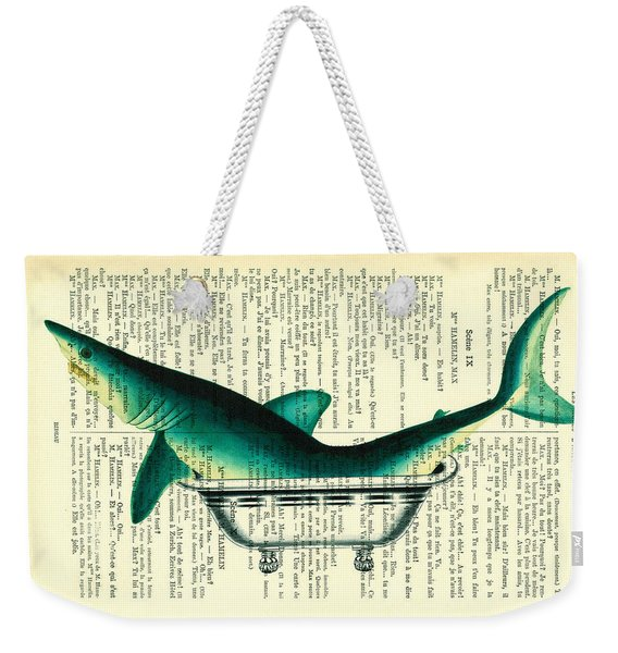Shark In Bathtub Illustration On Dictionary Paper Weekender Tote Bag