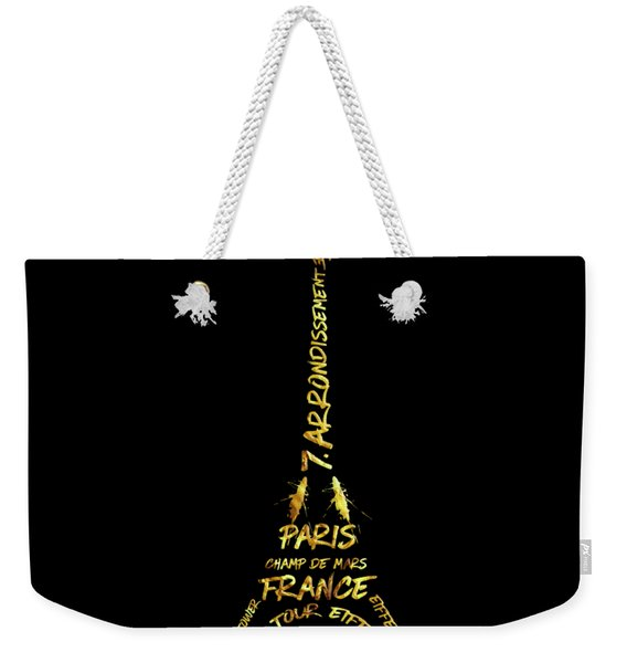 Digital-art Eiffel Tower - Black And Golden Weekender Tote Bag