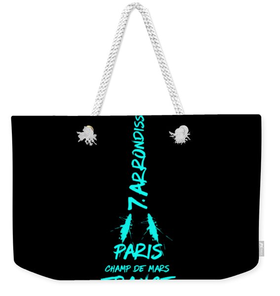 Digital-art Eiffel Tower Cyan Weekender Tote Bag