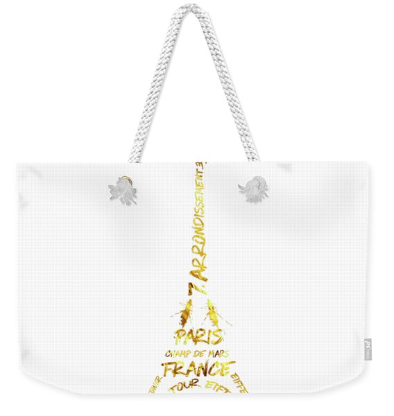 Digital-art Eiffel Tower - White And Golden Weekender Tote Bag