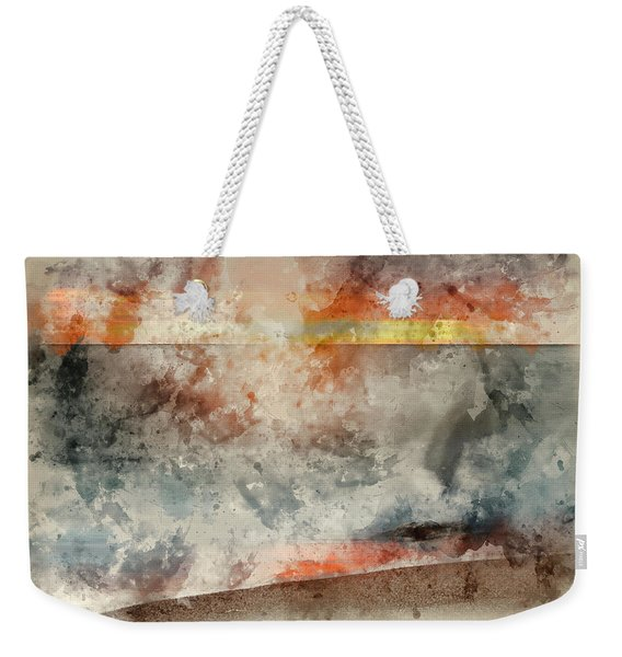Digital Watercolor Painting Of Beautiful Sunset Landscape Image Of Burton Bradstock Golden Cliffs In Weekender Tote Bag