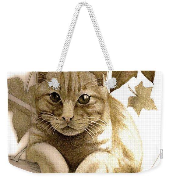 Digitally Enhanced Cat Image Weekender Tote Bag