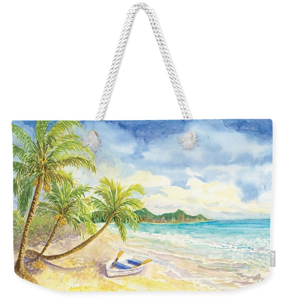 Dinghy On The Tropical Beach With Palm Trees Weekender Tote Bag