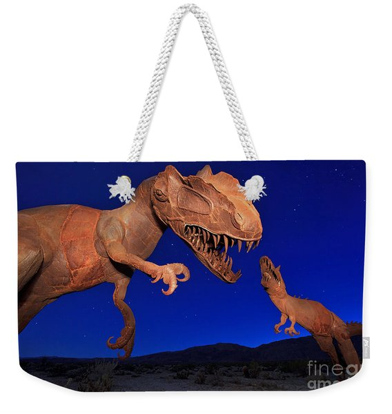 Weekender Tote Bag featuring the photograph Dinosaur Battle In Jurassic Park by Sam Antonio Photography