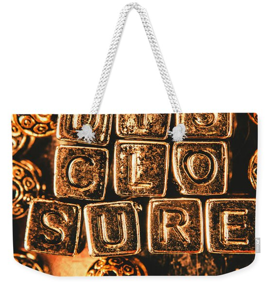 Disclosure Weekender Tote Bag