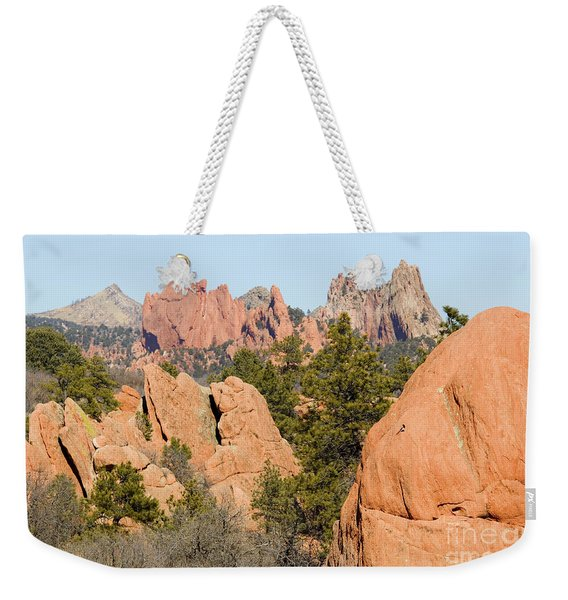 Distant Garden Of The Gods From Red Rock Canyon Weekender Tote Bag
