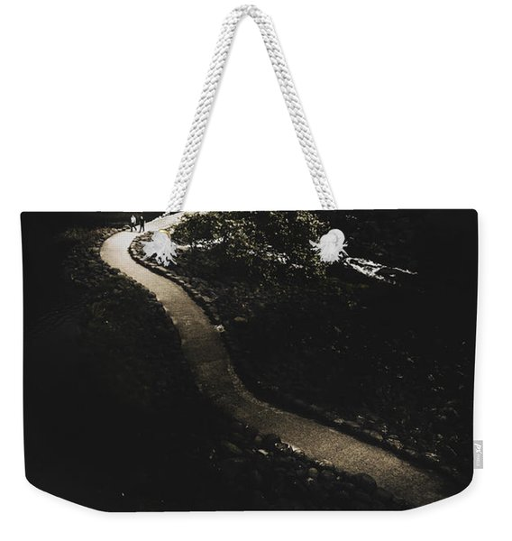 Distant People Walking On Winding Dark Path Weekender Tote Bag