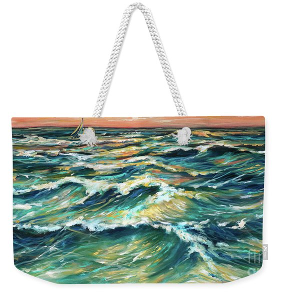 Distant Sail At Sunset Weekender Tote Bag