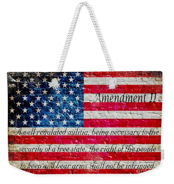 Distressed American Flag And Second Amendment On White Bricks Wall Weekender Tote Bag