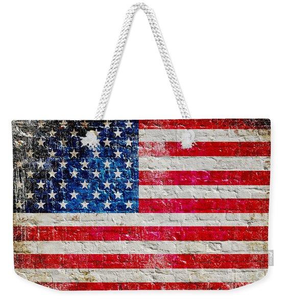 Distressed American Flag On Old Brick Wall - Horizontal Weekender Tote Bag