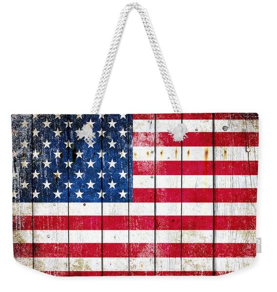 Distressed American Flag On Wood Planks - Horizontal Weekender Tote Bag