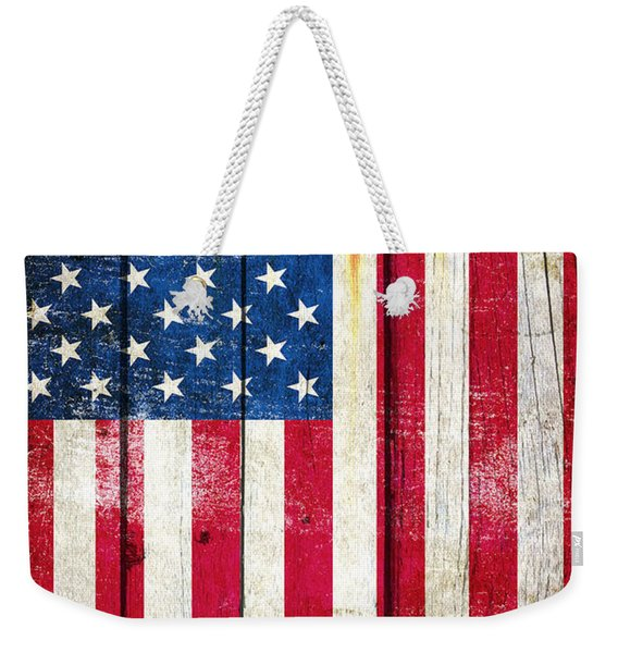 Distressed American Flag On Wood - Vertical Weekender Tote Bag