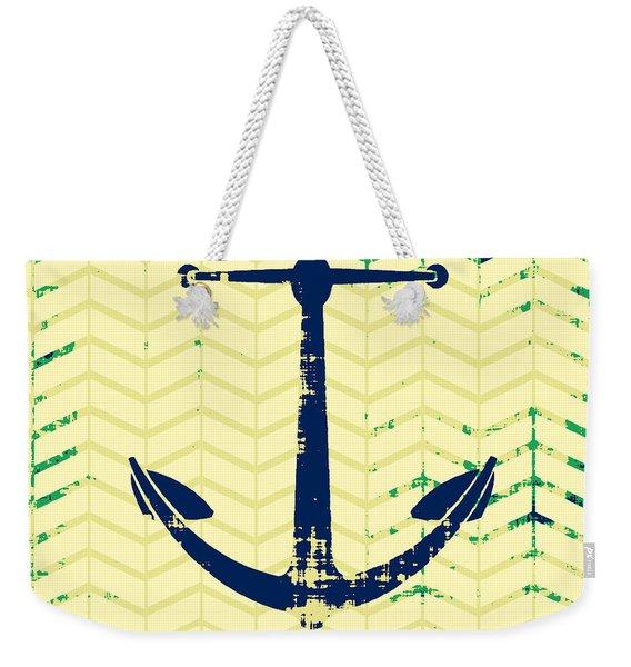 Distressed Navy Anchor Weekender Tote Bag