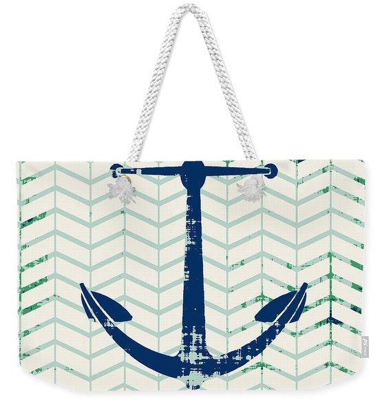 Distressed Navy Anchor V2 Weekender Tote Bag