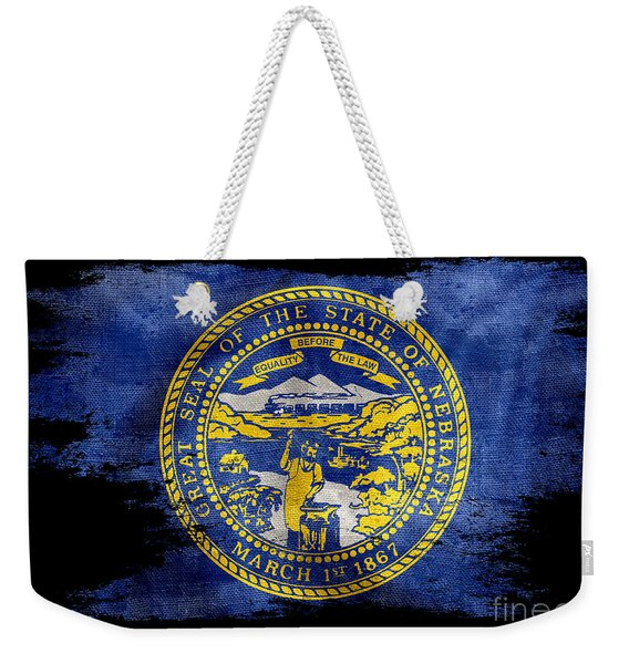 Distressed Nebraska Flag On Black Weekender Tote Bag