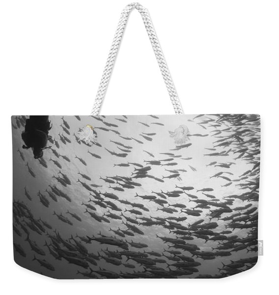 Diver And A Large School Of Bigeye Weekender Tote Bag