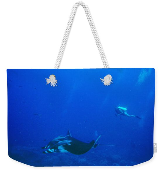 Diver And Giant Pacific Manta Ray Weekender Tote Bag