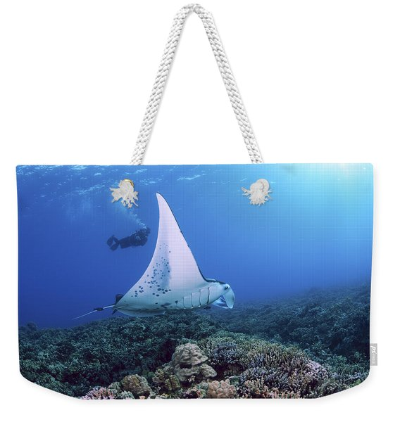 Diver And Ray Weekender Tote Bag