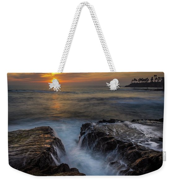 Weekender Tote Bag featuring the photograph Diver's Cove Sunset by Andy Konieczny