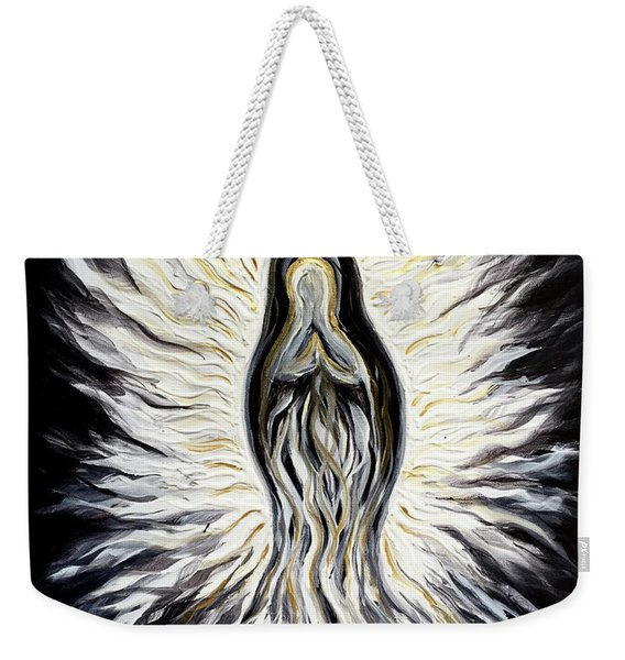 Divine Mother Black And White Weekender Tote Bag
