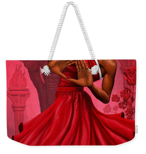 Divine Red And White Weekender Tote Bag