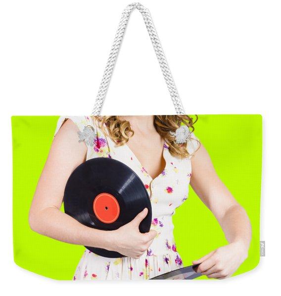 Dj Disco Pin-up Girl Rocking Out To Retro Vinyl  Weekender Tote Bag