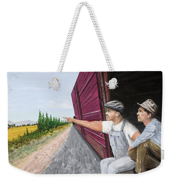 Weekender Tote Bag featuring the painting Do You Think They Have Rabbits by Kevin Daly