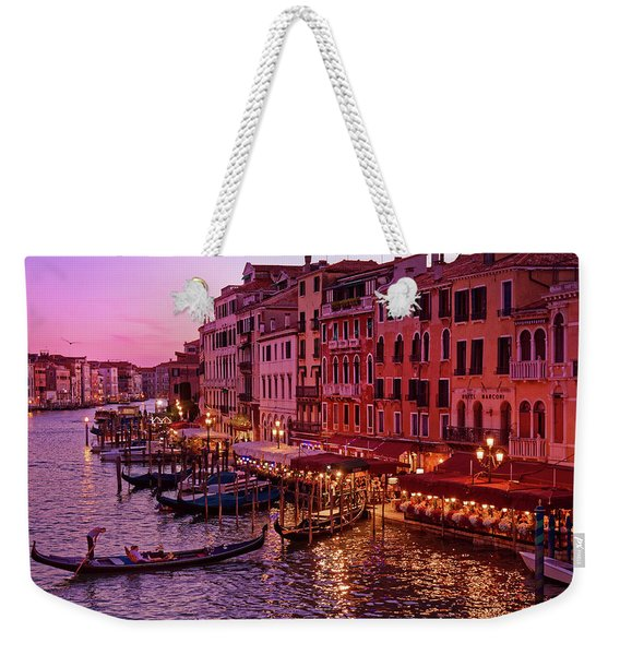 A Cityscape With Vintage Buildings And Gondola - From The Rialto In Venice, Italy Weekender Tote Bag