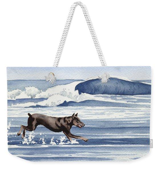 Doberman At The Beach  Weekender Tote Bag