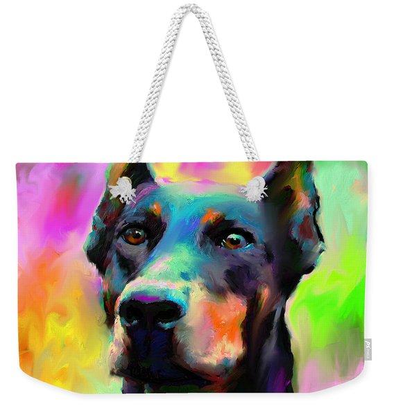 Doberman Pincher Dog Portrait Weekender Tote Bag