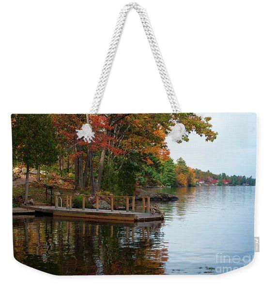 Dock On Lake In Fall Weekender Tote Bag
