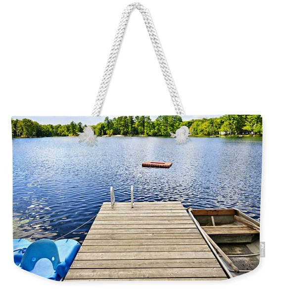 Dock On Lake In Summer Cottage Country Weekender Tote Bag