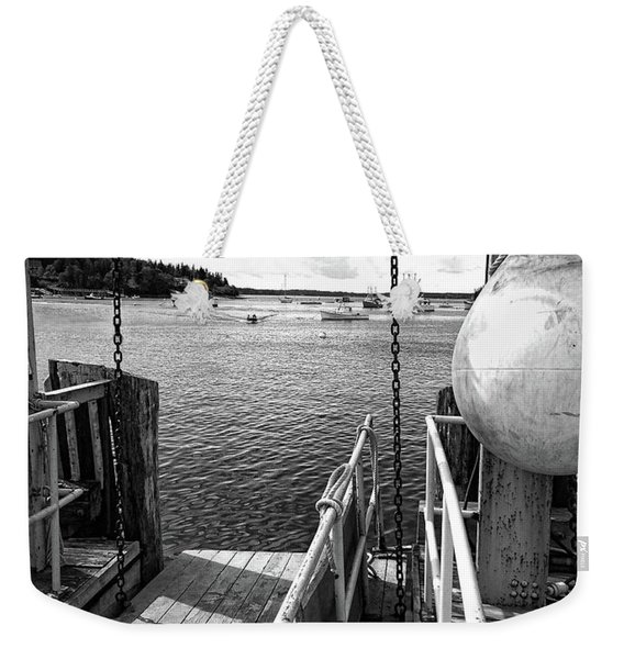 Weekender Tote Bag featuring the photograph Dock, Port Clyde, Maine  -2043-ip-bw by John Bald