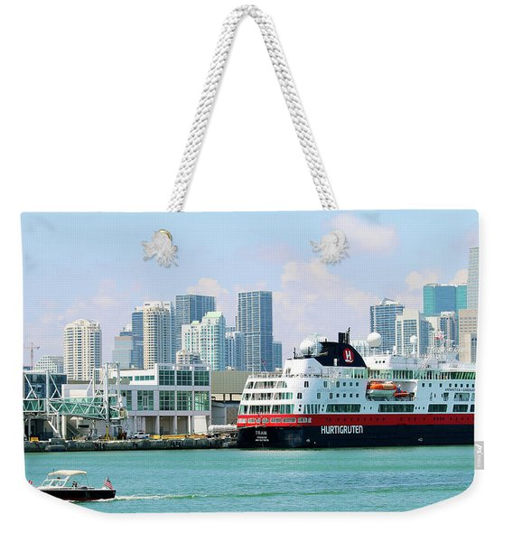 Docked In Port Of Miami Weekender Tote Bag