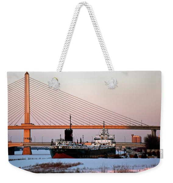 Docked Under The Glass City Skyway  Weekender Tote Bag