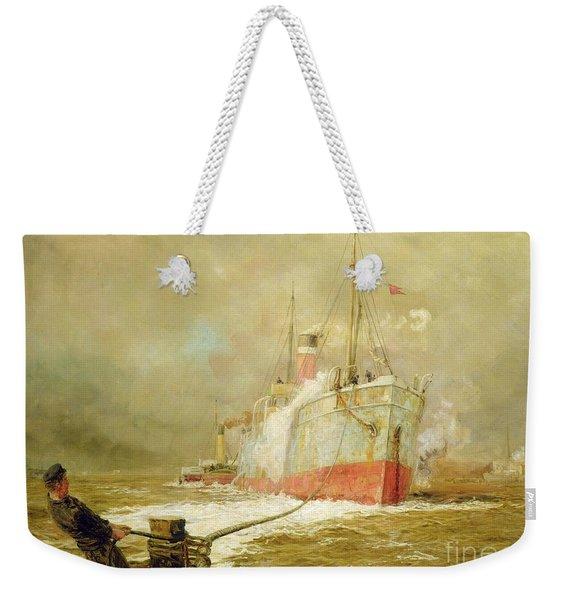 Docking A Cargo Ship Weekender Tote Bag