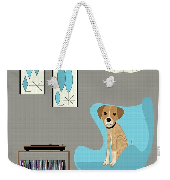 Weekender Tote Bag featuring the digital art Dog In Egg Chair by Donna Mibus