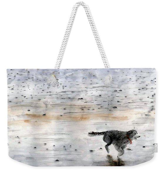 Dog On Beach Weekender Tote Bag
