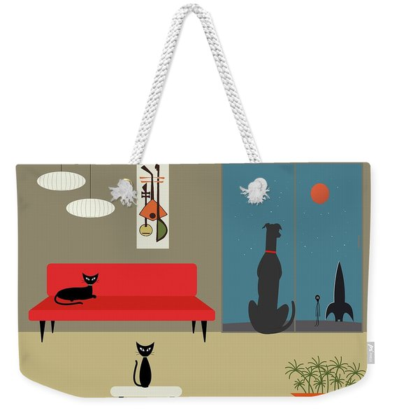 Weekender Tote Bag featuring the digital art Dog Spies Alien by Donna Mibus
