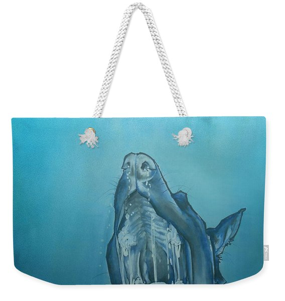 Dog-themed Jaws Caricature Art Print Weekender Tote Bag