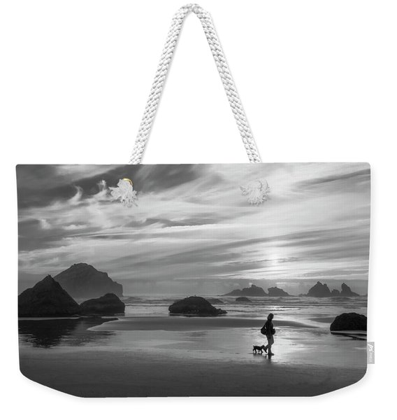 Dog Walker Bw Weekender Tote Bag