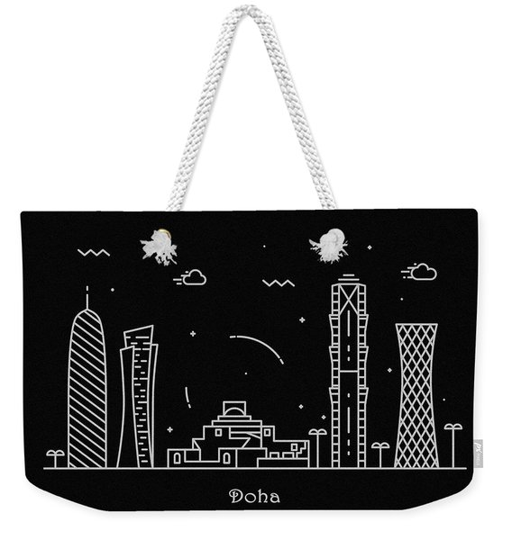 Doha Skyline Travel Poster Weekender Tote Bag