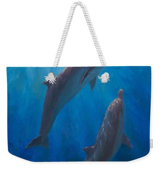 Dolphin Dance - Underwater Whales - Ocean Art - Coastal Decor Weekender Tote Bag