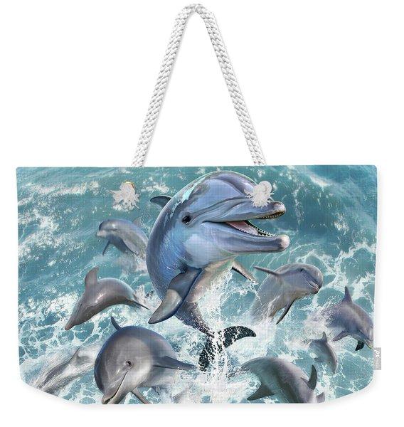 Dolphin Jump Weekender Tote Bag