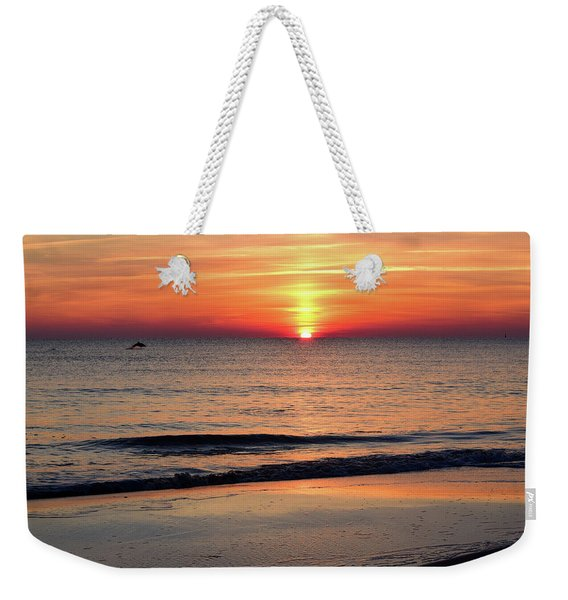 Dolphin Jumping In The Sunrise Weekender Tote Bag