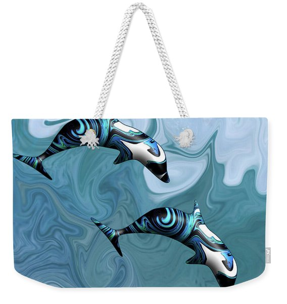 Dolphins Playing In The Waves Weekender Tote Bag