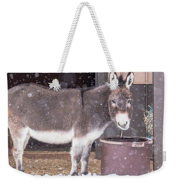 Donkey Watching It Snow Weekender Tote Bag